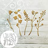 Troquel de corte en relieve para recortes, sFlower Leaf Plant Cutting Dies Scrapbook Craft Mold Paper Card DIY Stencil Decor - Plata