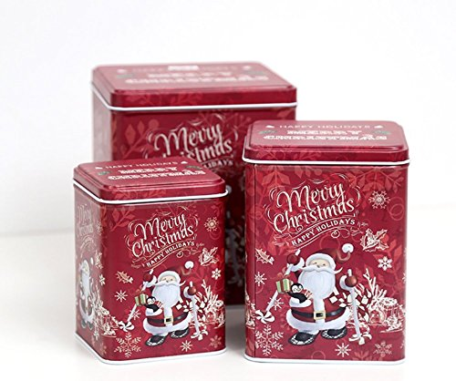 JKLcom Christmas Cookie Tins Set of 3,Decorative Cookie Gift Tins Cookie Jars Nesting Tins
