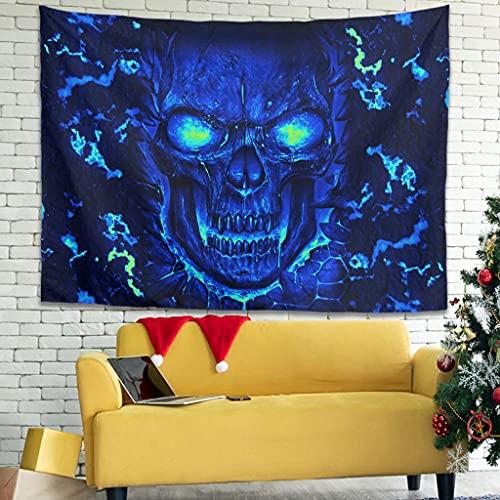 Shire Terry Tapiz de dormitorio con diseño de calavera para colgar en la pared, decoración del dormitorio del hogar, sala de estar, dormitorio, habitación de los niños, blanco 4 91 x 59 pulgadas