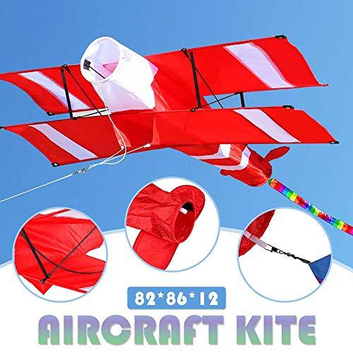 VWsiouev 2020 3D Einleinen-Drachen, einfacher Flyer Drachen mit Drachengriff und Schnur mit rotem Schwanz, für Kinder, Outdoor-Aktivitäten, Strandausflüge