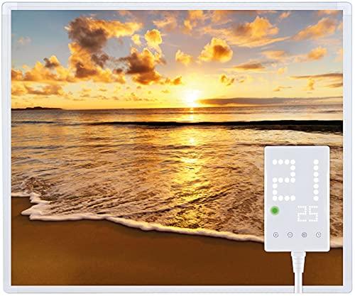 Heidenfeld Infrarotheizung HF-HP105 mit Fotomotiven - 10 Jahre Garantie - Deutsche Qualitätsmarke - TÜV GS - 300 / 400 / 500 / 600 / 800 / 1000 Watt - 3 - 25 m² (300 Watt, Strand)