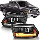 AmeriLite Black Dual Quad Projector Headlights Assembly Switchback LED Tube Parking Turn Signal for 2009-2018 Both Model Dodge Ram 1500 2500 3500 Pickup Truck - Passenger and Driver Side Set