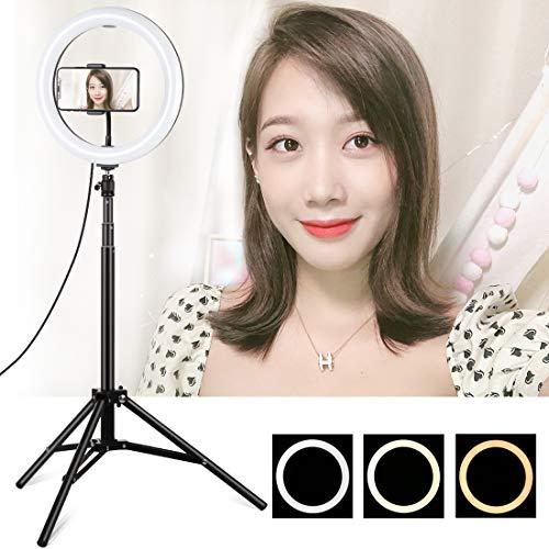 LuoKe Selfie Fill Light 10,2 pouces réglable LED incurvée changement de 3 couleurs avec trépied 165cm pour Tik Tok, maquillage, vidéo, photo