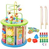 Wesimplelife Activity Cube Bead Maze 10 in 1 Multi-purpose Educational Wooden Toys