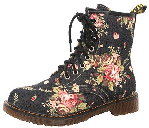 Wealsex Damen Cowboy Stiefel Canvas Blumen Halbschaft Stiefeletten flach(Schwarz,39)