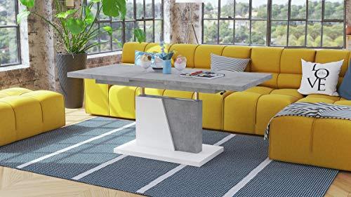 Mazzoni Design Couchtisch Tisch Grand Noir stufenlos höhenverstellbar ausziehbar 120 bis 180cm Esstisch (Betonoptik/Weiß matt)
