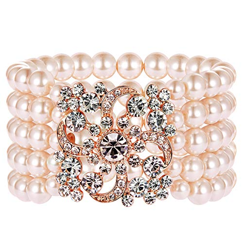 BABEYOND 1920s Flapper Bracelet Art Deco Pearl Bracelet Great Gatsby Elastic Imitation Pearl Bracelet Roaring 20s Accessories Jewelry 5 Rows (Rose Gold)