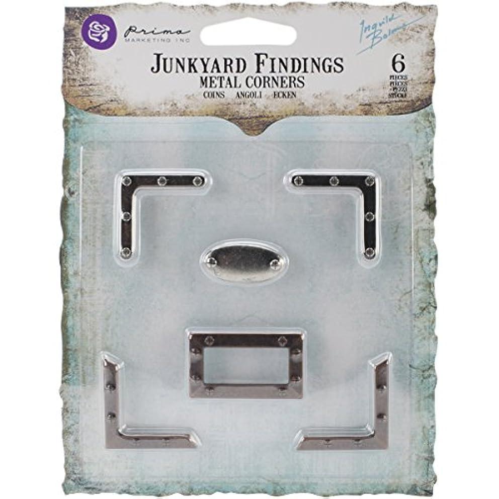 Prima Marketing Junkyard Findings Metal Embellishments, Corners, 6-Pack
