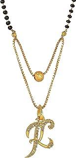 H D CREATION Letter Alphabet In American Diamond Pendant Locket In Gold Platted Multi Strand Mangalsutra For Women's/Girl'...
