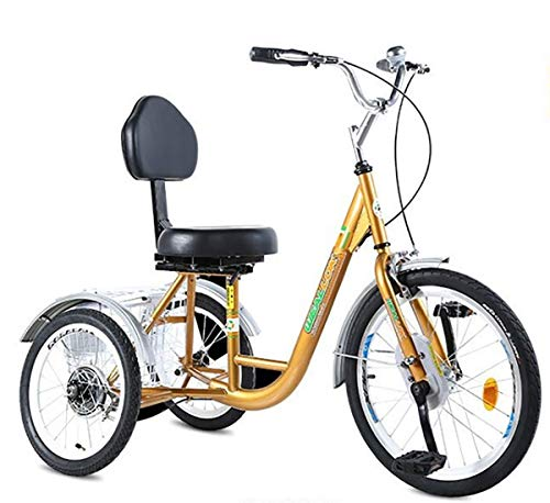 Tricycle Adult Three-Wheeled Bicycle Elderly with Rear Basket Mobility Exercise Bike Pedal Tricycle high Carbon Steel Frame The Best Gift for Parents Front Wheel 20inch Rear Wheel 16inch