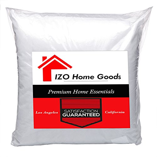 """IZO Home Goods Square Hypo-allergenic Polyester Filled Throw Pillow Form Insert, 22"""" W x 22"""" L"""
