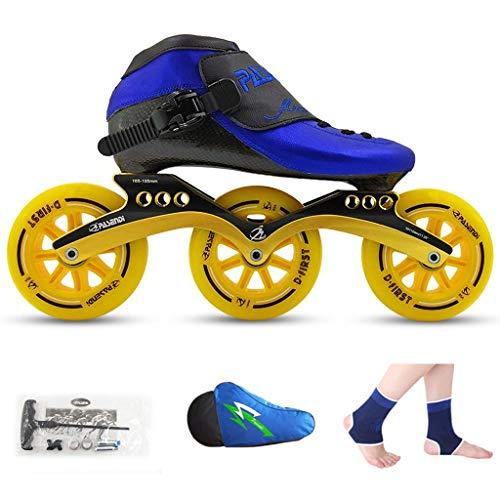 Taoke Roller Skates, Eisschnelllauf Schuhe, Rennschuh, Kinder Erwachsener Beruf Skates, Männer und Frauen Inline Skates (Farbe: Blau Schuhe + gelbe Räder, Größe: 42) dongdong