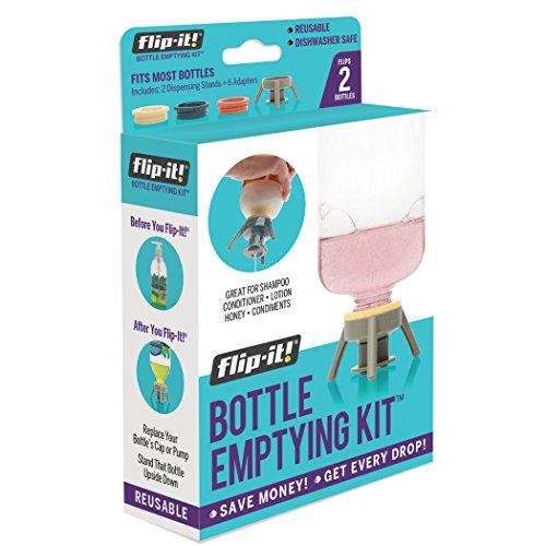 Flip-It! Fläschchen-Entleerungs-Set – Flasche auf den Kopf klappen, um jeden Tropfen aus Lotionen, Shampoos, Spülungen und Küchenutensilien 2 Stück – BPA-frei – spülmaschinenfest