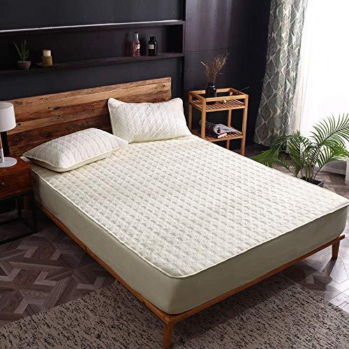 HPPSLT Protector de colchón de Rizo algodón y Transpirable Funda Completa de algodón de una Sola Pieza a Prueba de Polvo-Amarillo Rejilla Grande_200x220cm