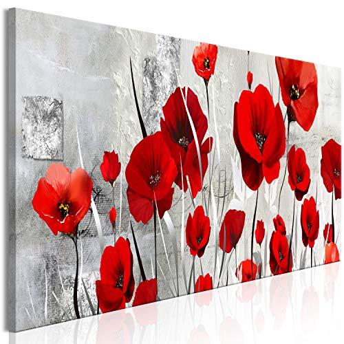 murando Cuadro en Lienzo Amapolas 150x50 cm Impresión de 1 Pieza Material Tejido no Tejido Impresión Artística Imagen Gráfica Decoracion de Pared - Flores Planta Rojo Gris como Pintado b-A-0784-b-a