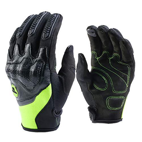 Guantes Moto Piel Cuero de Verano para Hombre,Guantes Sport Pantalla Táctil Transpirable para Moto Motocross Ciclismo Deportivos(Green,M)