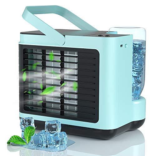 4 In 1 Mini Mobile Klimageräte, AUGOLA Mini Klimaanlage Persönliche Luftkühler, Luftbefeuchter, Luftreiniger, USB Klimaanlage Klein, 2 Modi 3 Geschwindigkeiten mit Licht, Ideal für Zuhause und Büro