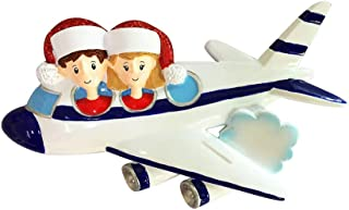 Personalized Vacation Family of 2 Christmas Tree Ornament 2019 - Airplane Santa Hat Flight Trip Tradition Tourist Summer Travel Visit Honeymoon Friend Together Holiday Year - Free Customization