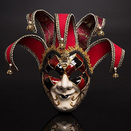 pitaya Maschera del Teatro di Carnevale di Venezia Rosso e Blu a Due Colori (Rosso)