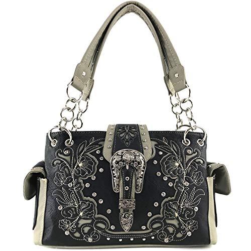 Zelris Western Floral Blossom Buckle Women Conceal Carry Shoulder Handbag (Black/Gray)