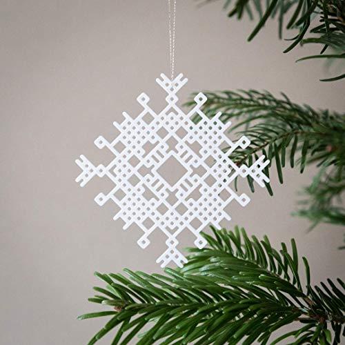 Moderner skandinavischer Weihnachtsbaumschmuck, Anhänger Weihnachtsbaum weiß 3D-gedruckt