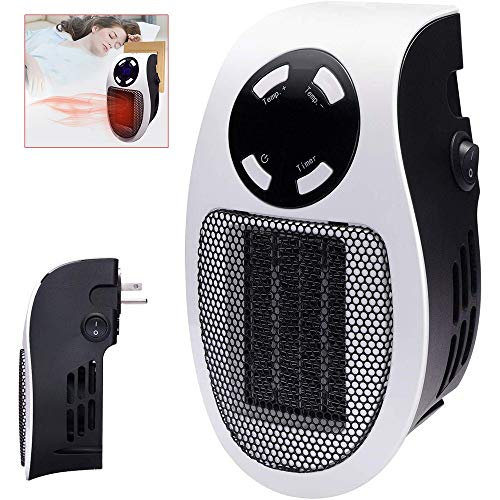 NBMN Estufa Eléctrica Calefactor Mini Portátil Handy Heater 220V 500W Temporización LCD Pequeño Ventilador Eléctrico para Dormitorio/Sala Estar/Cocina/Estudio/Oficina