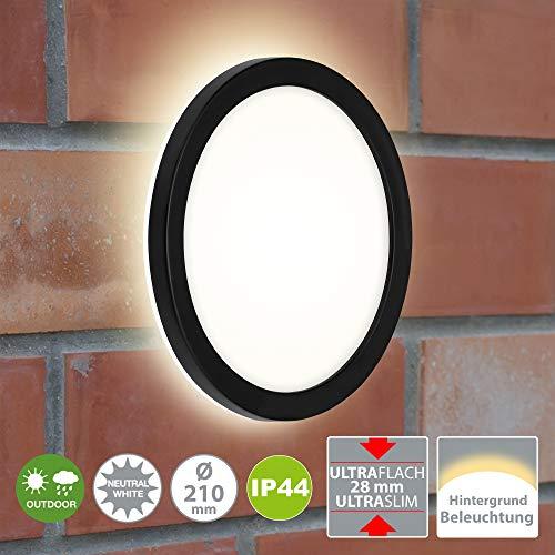 Briloner Leuchten - LED Außenleuchte, Außenwandlampe inkl. Backlight-Effekt, Außendeckenlampe, Badlampe 8 Watt, 1.200 Lumen, 4.000 Kelvin, Weiß/Schwarz, Rund, Ø 21cm
