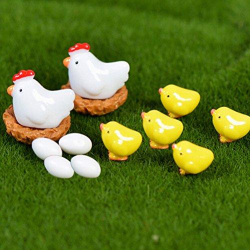 BESTIM INCUK Niedliche Mini-Hühnereier aus Harz, für Miniatur-Feengarten, Ornamente, DIY-Miniatur-Garten, Terrarium, Puppenhaus, Heimdekoration, 13 Stück
