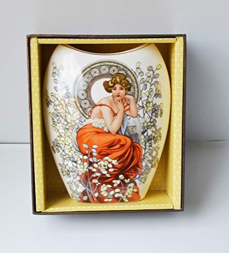 Atelier Harmony Alfons Mucha Blumenvase Ruby Porzellan mit Geschenkbox NEU Limited Collection