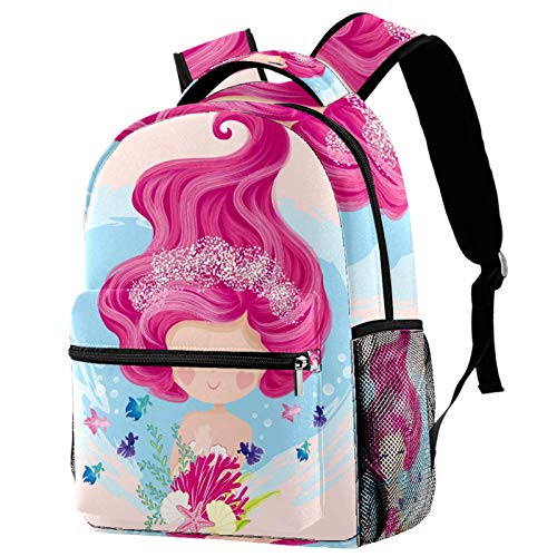 Little Cute Mermaid with Fishes and Seashells Backpack for Teens School Book Bags Travel Casual Daypack
