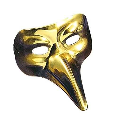 NET TOYS Lange Nase Venezianermaske Edle Schnabelmaske Gold Schwarze Pest Venedigmaske Pantalone Rabenmaske Venezianische Maske Vogel Halbmaske