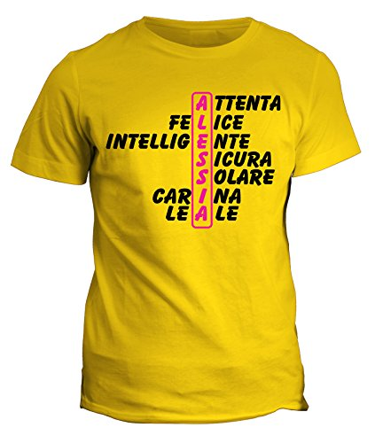 fashwork Tshirt con Nome Alessia e Aggettivi Simpatici - Idea Regalo - in Cotone