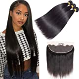 10A Brazilian Virgin Straight Hair 3 Bundles with Frontal (16 18 20+14) Straight Human Hair Bundles with 13x4 Lace Frontal 100% Unprocessed Virgin Remy Hair Bundles with Frontal Natural Color