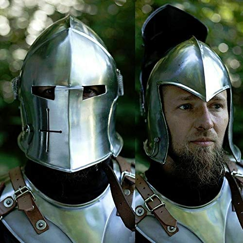 QUALITYMUSICSHOP Medieval Visored Barbuta Helmet Armour Helmet Greek Roman Barbute European