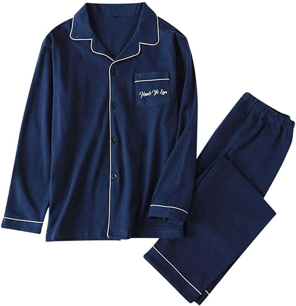 HAOHANYOUPIN Menx27;s Pyjamas Set Cotton Plaid Long Sleeve Top & Bottoms Loungewear Nightwear Sleepwear PJ Sets Mens Pajama Pants (Color : Navy, Size : M)