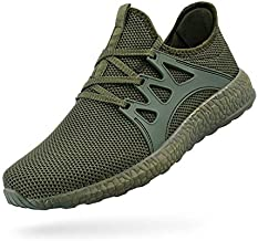 ZOCAVIA Mens Running Tennis Work Shoes Slip On Resistant Sneakers Lightweight Breathable Athletic Fashion Zapatos Gym Sport Non Slip Casual Walking Shoes for Men Green 9.5