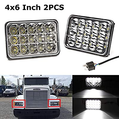 LED Headlights Assembly Rectangular for Freightliner FLD112 FLD120 International Harvester 9200i 9400i Replacement Bright Lamps