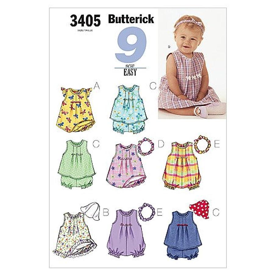 BUTTERICK PATTERNS B3405 Infants' Dress, Top, Romper, Panties, Hat & Headband, Size LRG (L-XL)