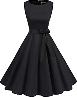 abendkleid schwarz Gardenwed Damen 50S Retro Cocktailkleid Rockabilly Retro Schwingen Kleid Faltenrock A-Line Petticoat