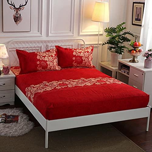 CYYyang Protector de colchón de Rizo algodón y Transpirable Paquete Completo de sábanas de un Solo producto-13_180x200 + 25cm