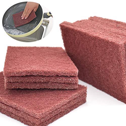 Xiuyer Scheuerschwamm Haushalt Reinigungstücher Schrubben Dekontamination und Entrostung Nylon Emery Topfreiniger für Küche Geschirr Töpfe Pfannen Sinkt(15 Stück, 10x15 cm)