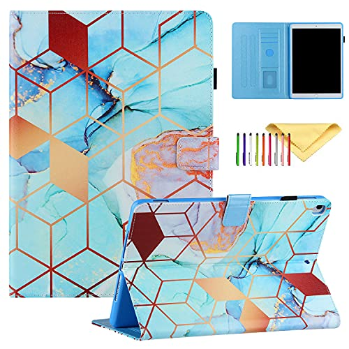 Uliking Case for iPad 10.2' 8th/7th Gen iPad Pro 10.5 (Air 3) - Slim & Lightweight PU Leather Folio Cover for iPad 10.2'/10.5', iPad 2020/2019 Tablet Case with Pencil Holder, Blue Gold Grid Marble