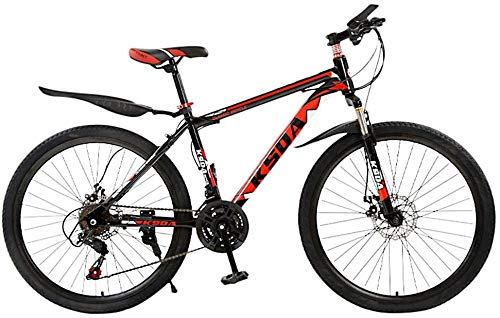 WJJH Mountain Bike for Men Land Rover 26 Inch with 21 Speed Dual Disc Brakes Suspesion Travel Camping Bicycle,Red