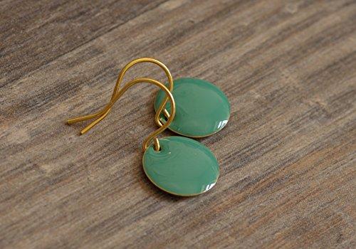 feine kleine Emaille Ohrringe in türkis goldfarben