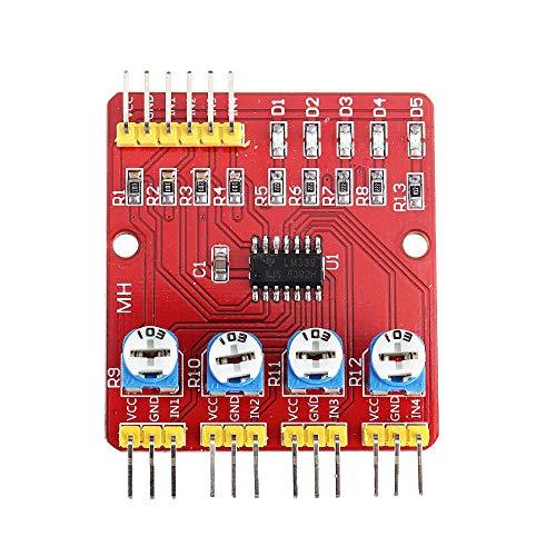 hgbygvuy 3pcs 4ch Channel Abraring Tracing Module Modulo Patrol Sensore a Quattro Vie per Auto Robot ostacolo evitamento s