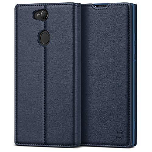 BEZ Handyhülle für Sony Xperia XA2 Hülle, Tasche Kompatibel für Sony Xperia XA2, Schutzhüllen aus Klappetui mit Kreditkartenhaltern, Ständer, Magnetverschluss, Blau Marine