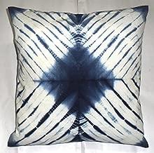 Shibori Pillowcases, Tie Dye Cushion Cover 16x16, Indigo Pillows, Decorative Throw, Indian Outdoor Cushion, Boho Pillow Shams