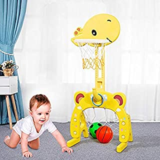 Basketball Hoop Set, 3 in 1 Sports Activity Center Grow-to-Pro Adjustable Easy Score Basketball Hoop, Football / Soccer Goal, Ring Toss Cute Giraffe Best Gift for Baby Infant Toddler (Yellow)