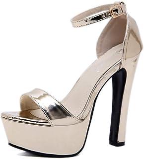 estilos de moda salida online tiendas populares Amazon De esSandalias Tacón Doradas Zapatos Fiesta qUzGVpSM