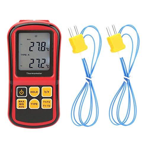Termometro Digitale GM1312, Termometro Display LCD a Doppio Canale con Retroilluminazione Termometro Industriale Termocoppia Tipo J K T E N S e R